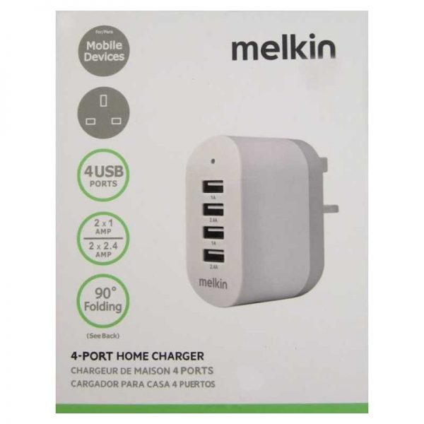 Melkin 4port home chargerآداپتور شارژر4پورته ملکین