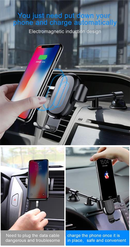 هولدر خودرو و شارژر بی سیم بیسوس Baseus Wireless Charger Gravity Car Mount